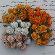 Набор 10 декоративных бумажных роз в оранжевых тонах, 15 мм