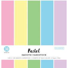Набор гладкого картона пастельных тонов 30х30 см, 30 листов, Smooth Cardstock Colorbok