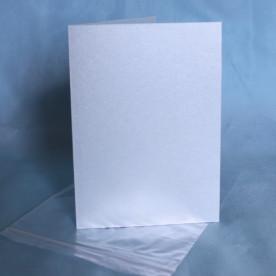 Заготовка для открытки с пакетом 12х17 см, голубая перламутровая