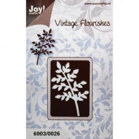 Нож для тиснения и вырезания Vintage Flourishes - Small Leaves/Branch, размер 6,5х4,5 см от Joy! Cra