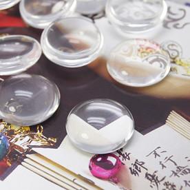 Прозрачный полукруглый стеклянный кабошон, 18 мм, толщина ок. 6 мм