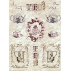 """Декупажная карта """"Цветочный чай"""" 21х29,7 см от компании Cheap Art"""