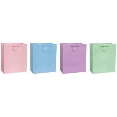 Пакет дарунок глянсовий 26х31 см, ручки стрічка, рожевий