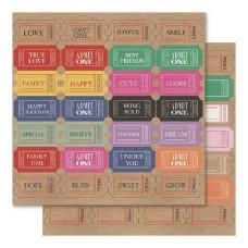 Двусторонняя крафт-бумага Tickets Please 30х30 см от Ruby Rock-It