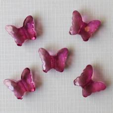 """Бусинка из акрила """"Бабочка""""  малинового цвета, 22х18х9 мм"""