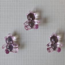 "Акриловая подвеска ""Медвежонок"" светло-розового цвета, 25х21х10 мм"