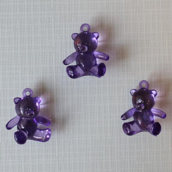 """Акриловая подвеска """"Медвежонок"""" фиолетового цвета, 25х21х10 мм"""