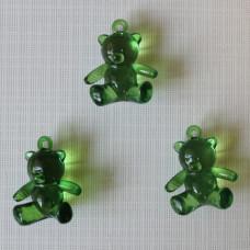 """Акриловая подвеска """"Медвежонок"""" зеленого цвета, 25х21х10 мм"""
