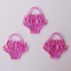 """Акриловая подвеска """"Корзинка с цветами"""", розового цвета, 44х42 мм"""