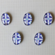 Кабошон Синий узор, овальная, размер 13х18 мм