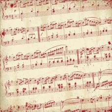 Бумага Awe Red & Cream Diagonal Sheet Music 30х30 см от Authentique Paper