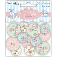 Набор деревянных пуговок Cupcake Boutique от компании Dovecraft, 20 шт