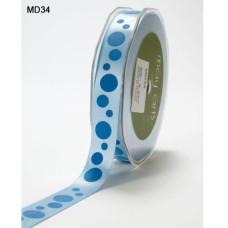 Атласная лента Bubble Dots голубого цвета от May Arts, 16 мм, 90 cм