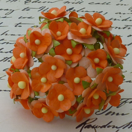 Набор из 10 декоративных цветков Sweetheart оранжевого цвета, 15 мм