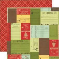 Двусторонняя бумага Christmas Receipts 30х30 см от компании Echo Park