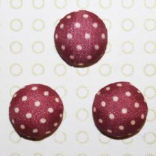 Тканевый кабошон бордового цвета в горошек, 15х7 мм, 1 шт