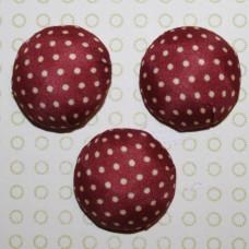 Тканевый кабошон  бордового цвета в горошек, 26х12 мм, 1 шт