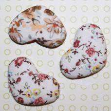 Тканевый кабошон Осенние цветы, 33х22х7 мм, 1 шт