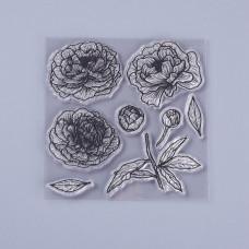 Силиконовый штамп, Цветы и бутоны, 10х10,0,3 см