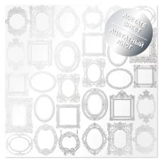 Ацетатный лист с фольгированием Silver Frames 30,5х30,5 см, Фабрика Декора