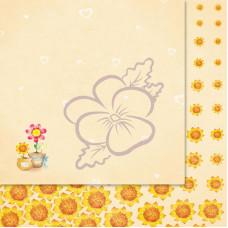 Лист бумаги для скрапбукинга, Милашки-Симпатяшки, Горшочки с цветами, 29,5x29,5 см, 190 г/м2, 1 шт, Lana Odis