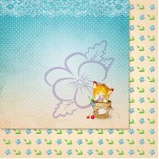Лист бумаги для скрапбукинга, Милашки-Симпатяшки, Маленький чистюля, 29,5x29,5 см, 190 г/м2, 1 шт, Lana Odis