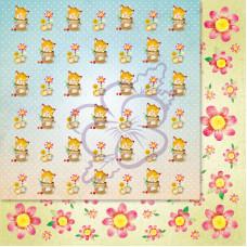 Лист бумаги для скрапбукинга, Милашки-Симпатяшки, Котята, 29,5x29,5 см, 190 г/м2, 1 шт, Lana Odis