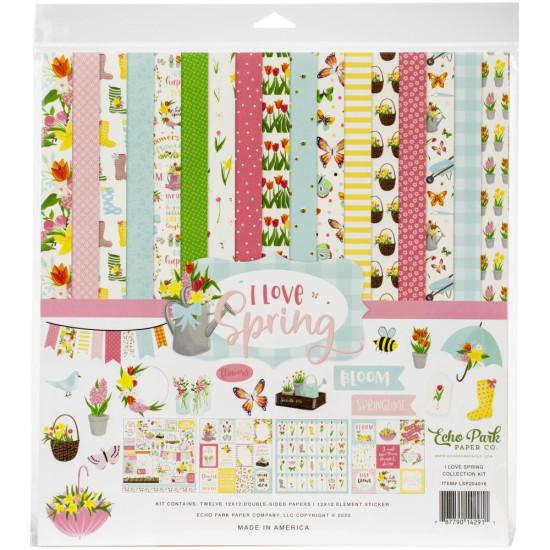 Набор бумаги для скрапбукинга I love Spring, 12 листов + наклейки, 30х30 см, Echo Park