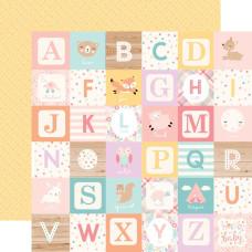 Двусторонняя бумага Girl Alphabet Blocks - Hello Baby Girl 30х30 см Echo Park