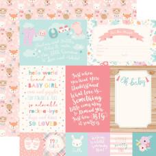 Двусторонняя бумага Cards - Hello Baby Girl 30х30 см Echo Park