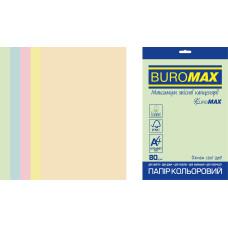 Набор цветной бумаги А4, 80г/м2, PASTEL EUROMAX, 5цв., 20л., Buromax
