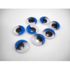 Глазки с ресницами, синий, 18 мм, 1 шт