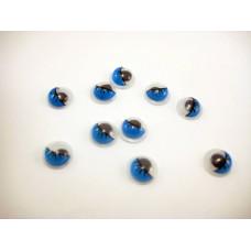 Глазки с ресницами, синий, 8 мм, 1 шт