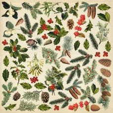 Лист с картинками для вырезания, Winter botanical diary, 30,5х30,5 см, Фабрика Декора
