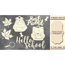 Набор чипбордов Привет школа #467, 10x15 см, цвет молочный, Фабрика Декора