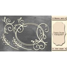 Набор чипбордов Рамка завитки и колоски 10х15 см #515 , цвет молочный, Фабрика Декора