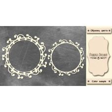 Набор чипбордов Круглые рамки завитки с бусинкой 10х15 см #521 , цвет молочный, Фабрика Декора