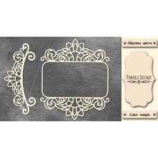 Набор чипбордов Рамка и бордюр с завитками 1 10х15 см #525 , цвет молочный, Фабрика Декора