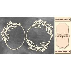 Набор чипбордов,ов Рамки с листьями 10х15 см #531 , цвет молочный, Фабрика Декора
