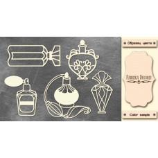 Набор чипбордов, Винтажные флаконы с духами, 10х15см #584, Фабрика Декора