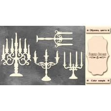 Набор чипбордов, Подсвечники с завитками, 10х15см #588, Фабрика Декора