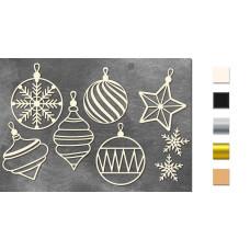 Набор чипбордов Новогодние игрушки 10х15 см #623, молочный, Фабрика Декора
