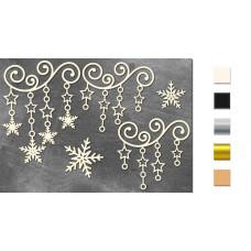Набор чипбордов Вензель со звездочками и снежинками 10х15 см #635, молочный, Фабрика Декора