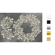 Набор чипбордов,ов Венок из листьев дуба, омелы и ягод 10х15 см #642, молочный, Фабрика Декора