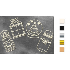 Набор чипбордов Зимний #1 10х15 см #647, молочный, Фабрика Декора