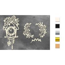 Набор чипбордов Часики с омелой и остролистом 10х15 см #654, молочный, Фабрика Декора