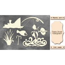 Набор чипбордов,ов, Рыбалка #1 #657, 10х15 см, 1,3мм, Фабрика Декора