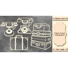 Набор чипбордов, Старинные телефоны и чемоданы #670, 10х15 см, 1,3мм, Фабрика Декора