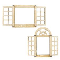 3D Заготовка Окно 1, Окно 2, фигурки для оформления кукольного домика #277, Фабрика Декору