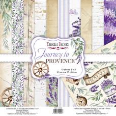 Набір Скрапбумага Journey to Provence 20x20 см 10 + 1 аркушів, Фабрика Декору